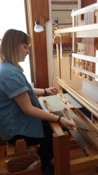 Kate at a Draw Loom