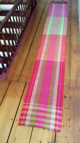 4 dishtowels each in a different twill weave structure and weft color